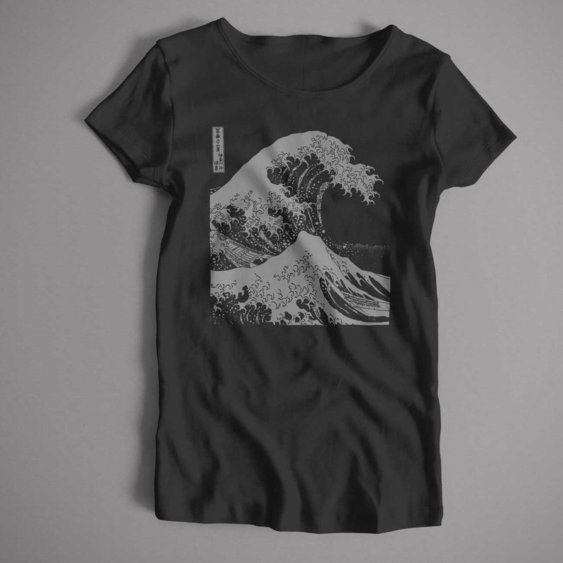 Hokusai T Shirt - Great Wave Mono An Old Skool Hooligans Fine Art T Shirt |  S-5XL and Lady Fit Sizes Available Japan Japanese Art