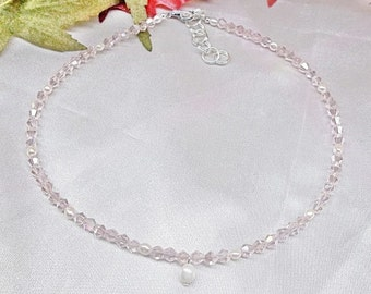 Girls Pink Crystal Necklace Girl's White Pearl Necklace Baby Pink Crystal Necklace Adjustable Necklace 925 Sterling Silver BuyAny3+1 Free