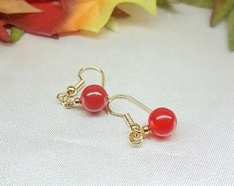 Red Jade Earrings Ruby Red Earrings Dangle Earrings 14k Gold Filled Earrings Stamped GF 1/20 BuyAny3+Get1Free