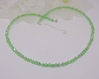 Mint Green Necklace Peridot Necklace Green Crystal Necklace Sterling Silver Necklace Adjustable Necklace BuyAny3+1 Free