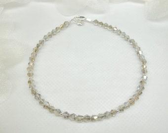 Gray AB Crystal Anklet Heart Anklet Sterling Silver Anklet Sterling Silver Ankle Bracelet For Girlfriend Silver AB Crystal Anklet Buy3+1Free