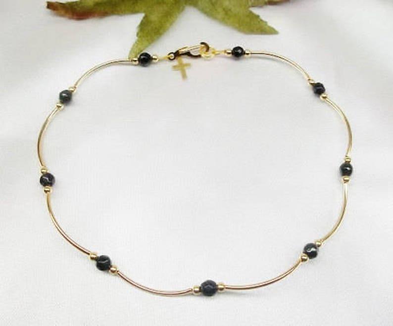 d4f3f2b1d9c00c 14k Gold Black Onyx Anklet 14k Gold Cross Ankle Bracelet Cross | Etsy