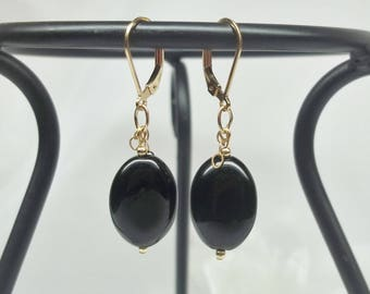 Black Onyx Earrings Solid Gold Dangle Earrings 14kt Gold Black Onyx Earrings Black Earrings BuyAny3+Get1 Free
