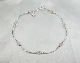 Pink Crystal Anklet Pink Anklet Beach Jewelry Crystal Ankle Bracelet Silver Heart Anklet Sterling Silver Ankle Bracelet BuyAny3+Get1Free