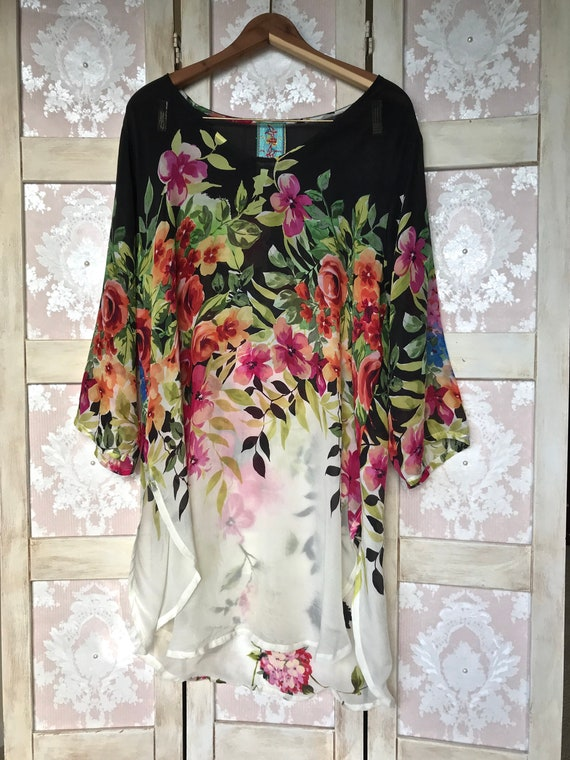 Vintage Floral Sheer Johnny Was Top/Tunic Size Lar
