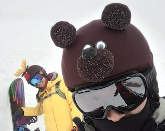 Teddy bear ski helmet cover, snowboard gift, couvre casque ski, bike helmet cover, gift for him, gift for biker, gift for new boyfriend