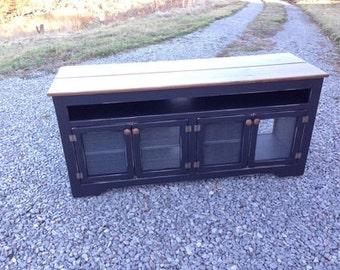 Rustic Media Console, Black TV Stand, Customized Media Cabinet