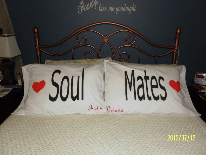 Personalized Bedroom Decor Soul Mates Hand Painted Couples Pillow Cases