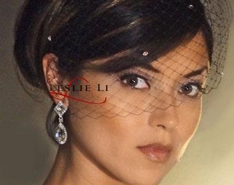 Leslie Li Black Austrian Crystal BIRDCAGE VEIL Bridal Veil 27s