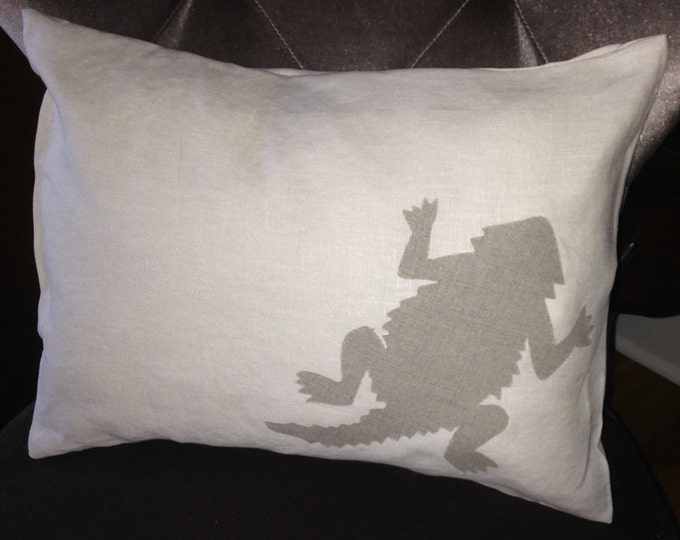 100% Washed French Linen Cream TCU Horned Frog Pillow 12x16 Pillow Cover Tan Applique