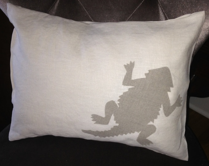 100% Washed French Linen Creamy White TCU Horned Frog Pillow 12x16 Pillow Cover Tan Applique