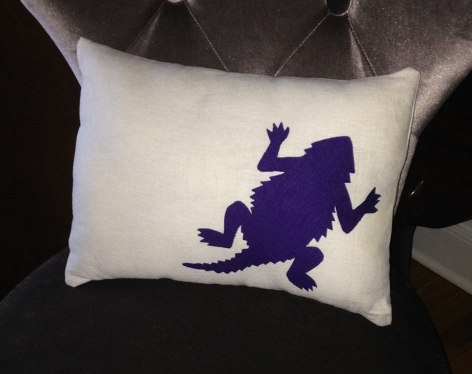 100% Washed French Linen TCU Horned Frog Pillow 12x16 Pillow Cover Purple Applique College Room Decor