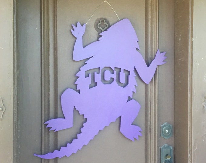 Large Wooden TCU Horned Frog Wall Door Decor