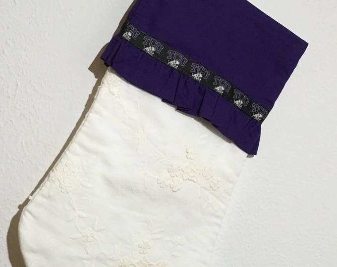 TCU Stocking white embroidered with TCU ribbon edged ruffle cuff and horned frog appliqué Christmas Stocking RTS Christmas tcu Decor