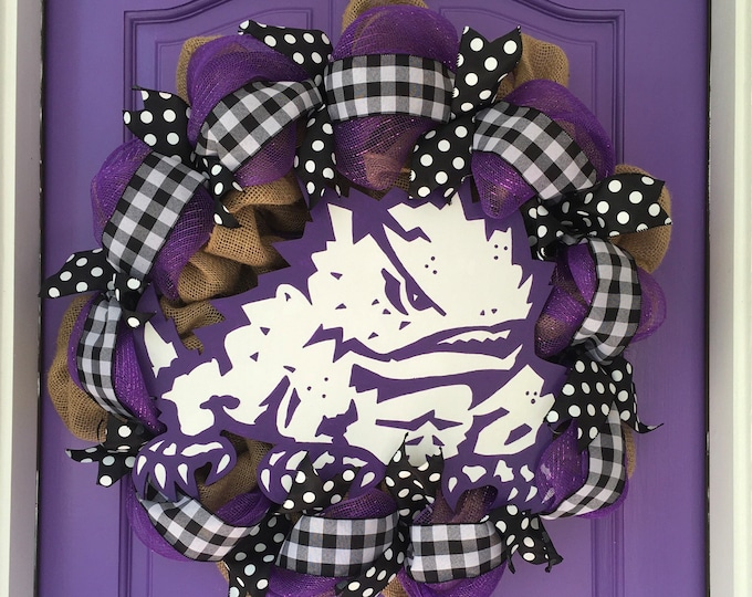 Stunning Oversized TCU Handpainted Black Buffalo Plaid and Burlap Wreath TCU Decor Holiday Wreath Gameday with custom wooden horned frog