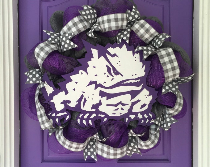 Stunning Oversized TCU Handpainted Gray Buffalo Plaid and Burlap Wreath TCU Decor Holiday Wreath Gameday