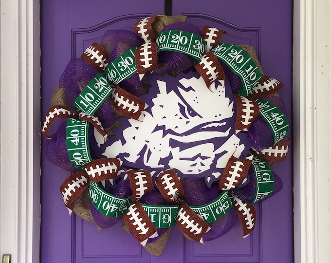 Stunning Oversized TCU Handpainted Purple and Burlap Wreath TCU Decor Holiday Wreath Gameday with custom wooden horned frog