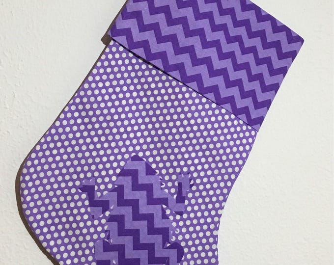 TCU Stocking purple polka dot with chevron cuff and horned frog appliqué Christmas Stocking RTS TCU Christmas tcu Decor