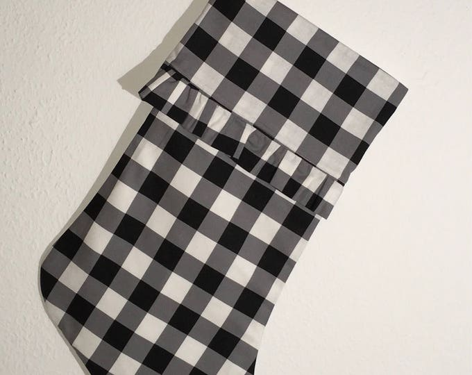 Buffalo Check Plaid Ruffled Stocking with optional horned frog appliqué Christmas Stocking RTS Christmas tcu Decor farmhouse decor