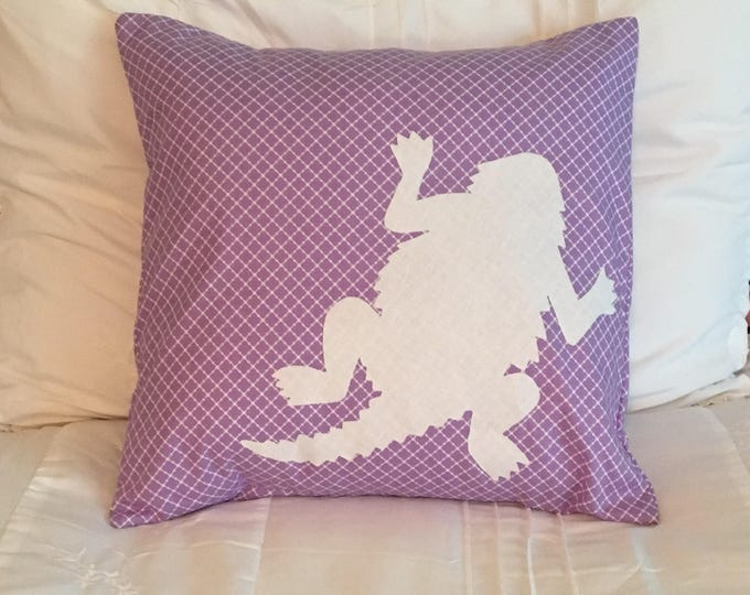 Purple TCU Horned Frog Pillow 16x16 Pillow Cover Purple with White Applique Frog RTS college room decor