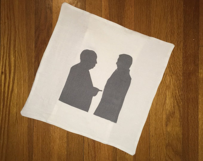 100% Washed French Linen Gray Alfred Hitchcock Cary Grant Vintage Movie Pillow Cover Farmhouse 16x16 Pillow Cover Wedding Gift Valentine