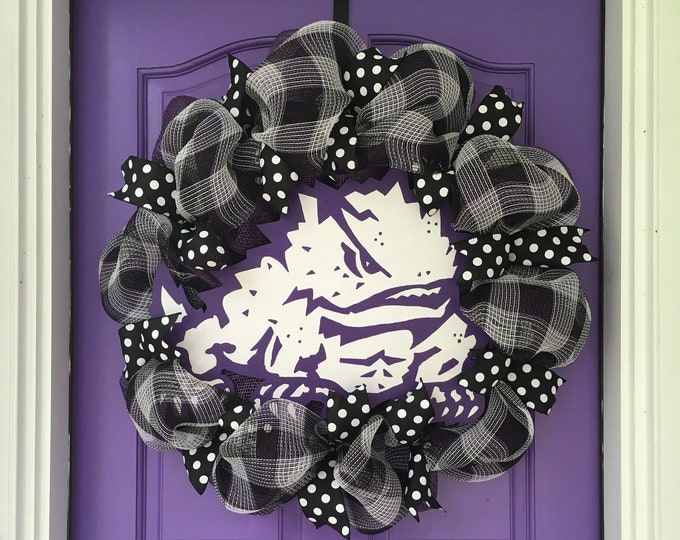 Unique Oversized TCU Handpainted Black Buffalo Plaid and Burlap Wreath TCU Decor Holiday Wreath Gameday