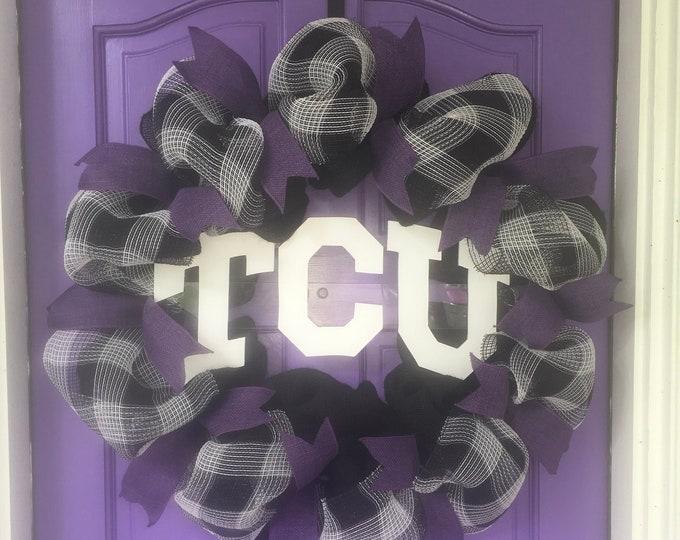 Unique Oversized TCU Handpainted Black Buffalo Plaid and Burlap Wreath TCU Decor Holiday Wreath Gameday