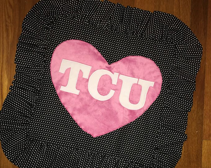 Polkadot Minky Heart TCU Horned Frog Pillow 16x16 Pillow Cover TCU home Decor I love Lucy Pillow Farmhouse Decor Christmas valentines RTS