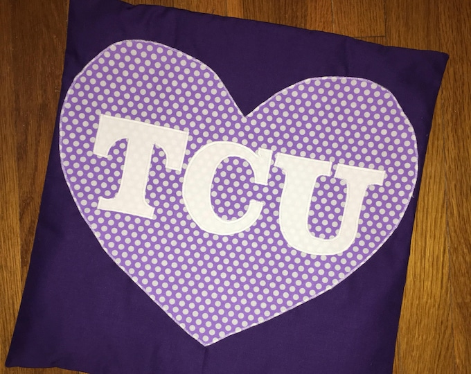 Purple Heart TCU Horned Frog Pillow 16x16 Pillow Cover TCU home Decor TCU pillow Farmhouse Christmas Valentine Pillow