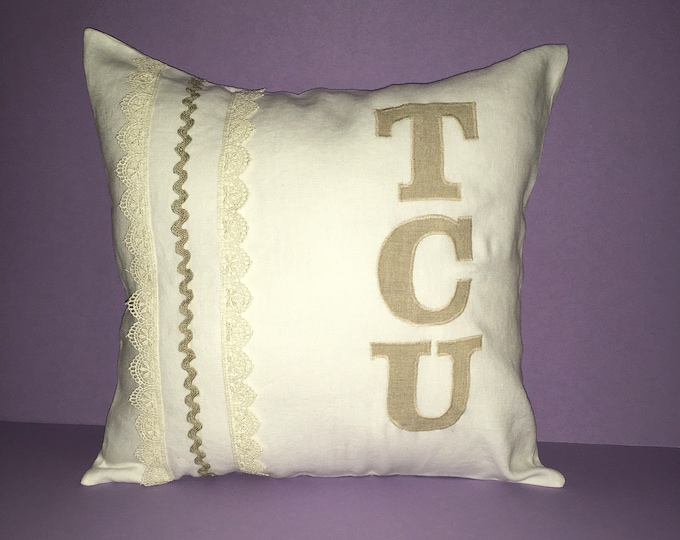 100% Washed French Linen Off White and Lace TCU Pillow 14x14 Pillow Cover Horned Frog Applique TCU Home Decor