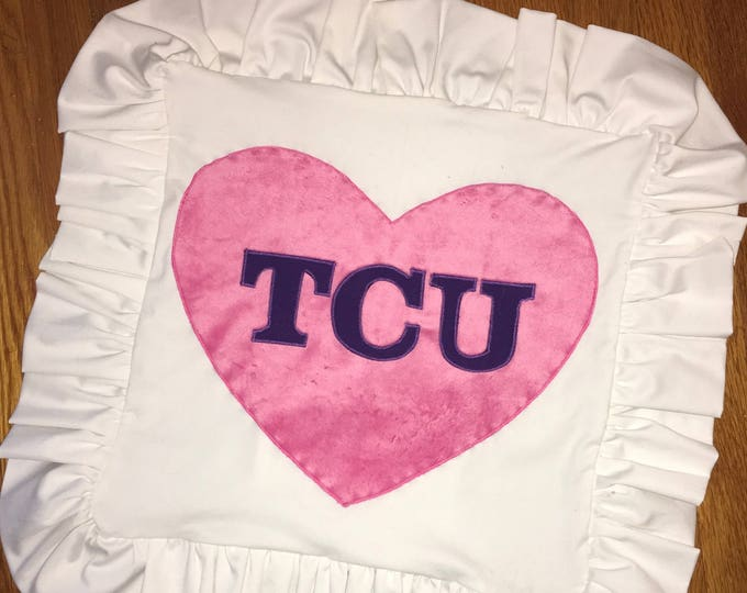 Ruffled Minky Heart TCU Horned Frog Pillow 16x16 Pillow Cover TCU home Decor TCU pillow Farmhouse Decor Christmas valentines Ready to ship