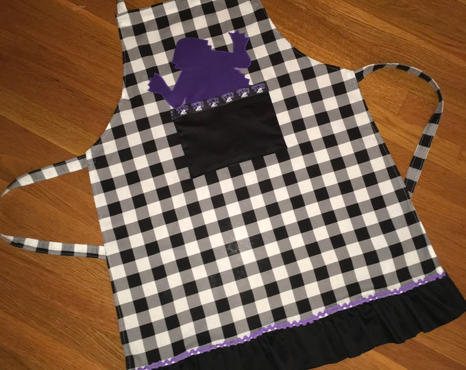 TCU Horned Frog Apron TCU Kitchen farmhouse apron Farmhouse kitchen Buffalo Plaid black and white checked apron kitchen gifts