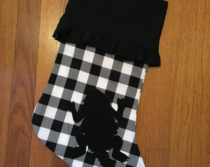 Buffalo Check Plaid Ruffled Linen Stocking horned frog appliqué Christmas Stocking RTS Christmas tcu Decor farmhouse decor