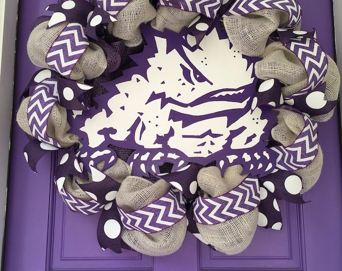 Stunning Oversized TCU Handpainted Purple Mesh and White Burlap Wreath TCU Decor Holiday Wreath Gameday with custom wooden horned frog