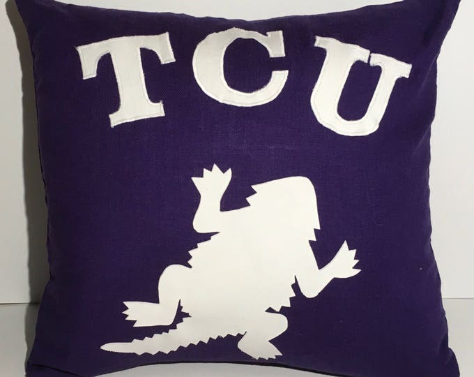 Purple Linen Blend TCU Horned Frog Pillow 16x16 Pillow Cover with White Applique Frog and Lettering TCU decor TCU home
