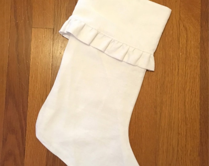 100% White French linen Ruffled Stocking Velvet Christmas Stocking RTS Christmas tcu Decor farmhouse decor