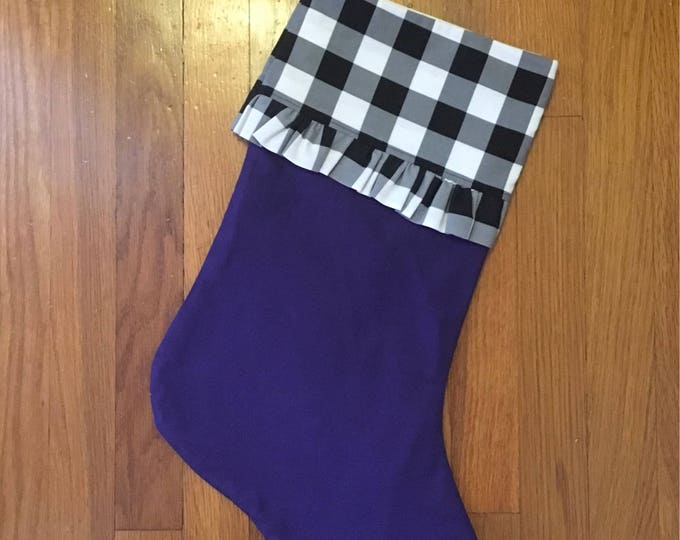 Purple Buffalo Check Plaid Ruffled Stocking with optional horned frog appliqué Christmas Stocking RTS Christmas tcu Decor farmhouse decor