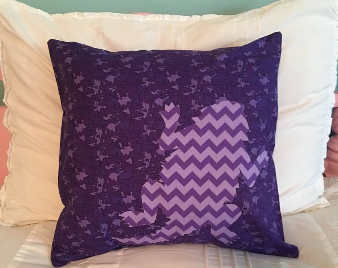 SALE: Purple Camouflage TCU Horned Frog Pillow 16x16 Pillow Cover with Purple Chevron Applique Frog RTS