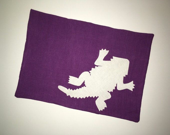 100% Washed French Purple Linen TCU Horned Frog Pillow 12x16 Pillow Cover Cream Applique Dorm Decor Graduation Gift