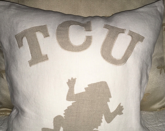 100% Washed French Linen Light Tan/khaki TCU Horned Frog Pillow 16x16 Pillow Cover Tan Applique