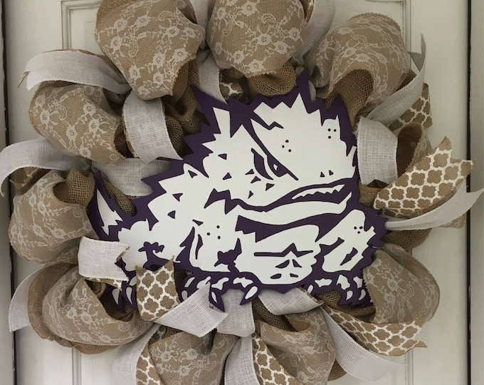 Stunning Oversized TCU Handpainted Purple and Burlap Wreath TCU Decor Holiday Wreath Gameday