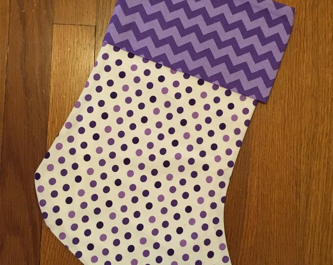 purple Polka Dot and Chevron Stocking horned frog appliqué Christmas Stocking RTS TCU Christmas tcu Decor