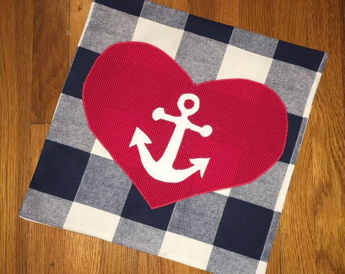 Blue Buffalo Check Anchor Heart 16x16 Pillow Cover home Decor Farmhouse Decor Christmas valentine pillow Navy Mom Pillow nautical decor
