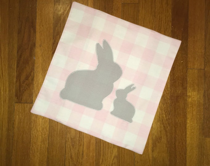 Pink Buffalo Plaid Rabbit Bunny Pillow Cover Farmhouse Pillow 16x16 Pillow Cover Wedding Gift Easter Baby's First Easter Nursery Decor