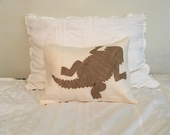 100% Washed French Linen Cream Off White and burlap TCU Pillow 12x16 Pillow Cover Horned Frog Applique TCU Home Decor
