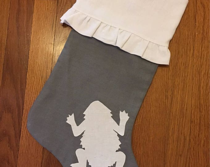 100% White French linen Ruffled Stocking Horned Frog Christmas Stocking RTS Christmas tcu Decor farmhouse decor
