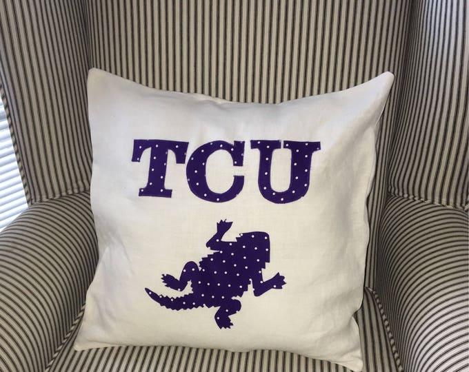 TCU Horned Frog Pillow 16x16 Pillow Cover Purple Polka Dot Applique TCU graduation gift tcu home decor