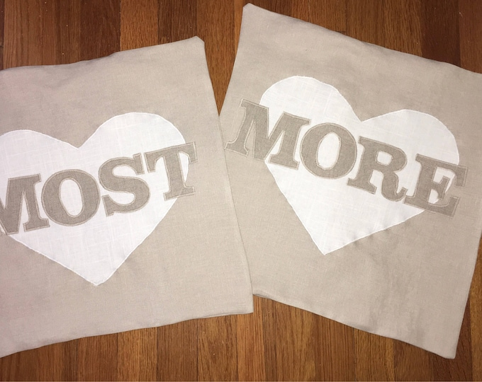 100% Washed French Linen Cream I love you more/most Farmhouse Pillow set 16x16 Pillow Cover Tan Applique Wedding Gift Valentine Anniversary