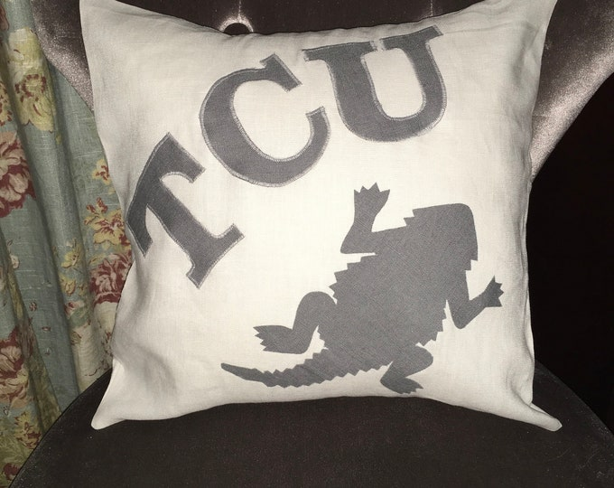 100% Washed French Linen Cream Off White TCU Horned Frog Pillow 16x16 Pillow Cover Tan Applique Dorm Decor Graduation Gift