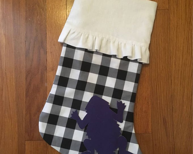 TCU Buffalo Check Plaid Ruffled Linen Stocking horned frog appliqué Christmas Stocking RTS Christmas tcu Decor farmhouse decor